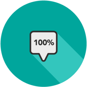 text bubble with '100%' in it
